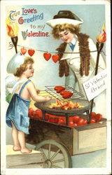 Woman looking at a Cupid-salesman roastinig some hearts