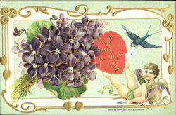 Cupid holding with his feet a heart in front of a flowers Postcard