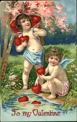 Cherubs with a Basket Full of Hearts