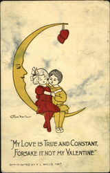 Boy and Girl Sitting on a Crescent Moon