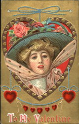 Woman's head in a veil and hat framed by a hearts