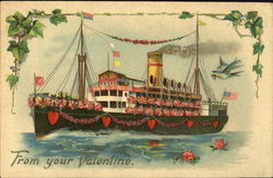 Ship covered with flowers and hearts