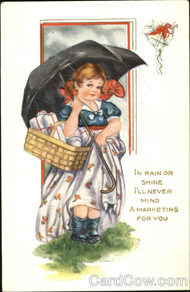 Round-faced girl with umbrella and basket Comic