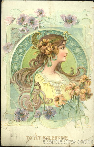 Dreamy portrait of woman in green frame with flowers