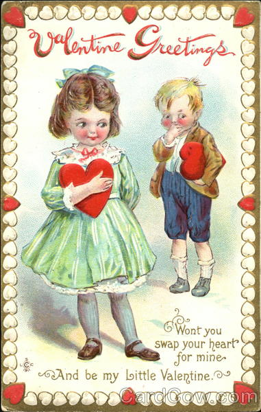 Blushing girl and boy with hearts Children