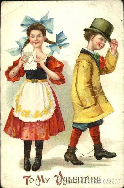 Boy and girl dressed as adults, girl in apron with blue ribbons in hair