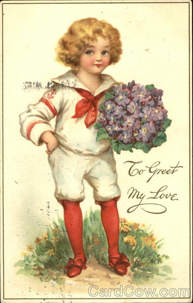 Boy in sailer suite with red stockings holding purple bouquet