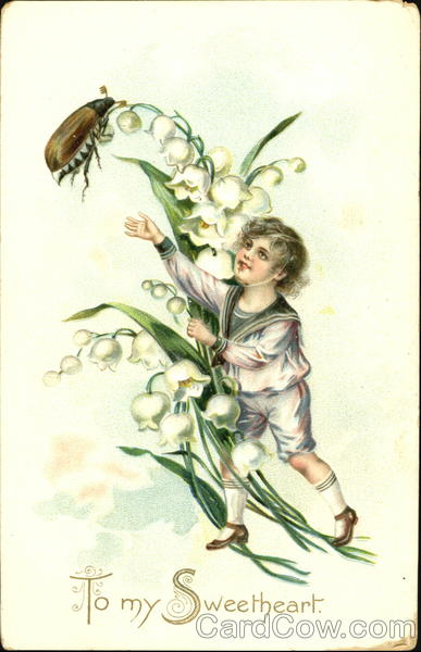 Boy in white sailor suit, white flowers, beetle Children
