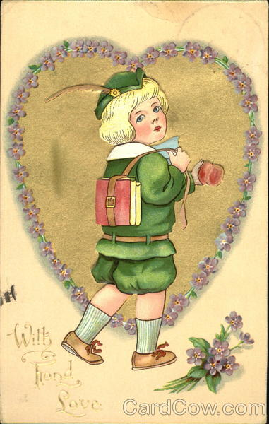 Boy in green outfit, carrying apple, book in leather strap