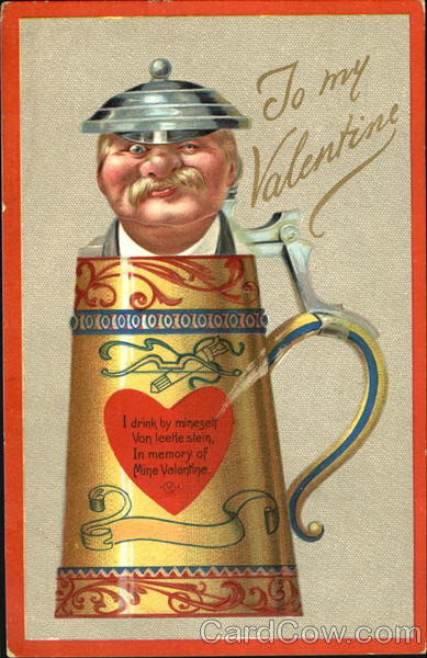 Moustached Man in Beer Stein Antique Postcard