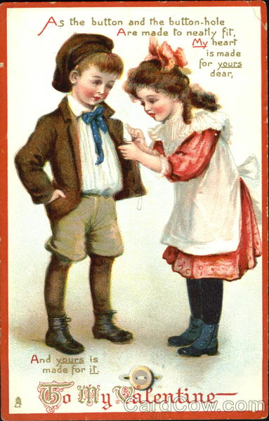 A girl sewing a button onto a boy's jacket Children