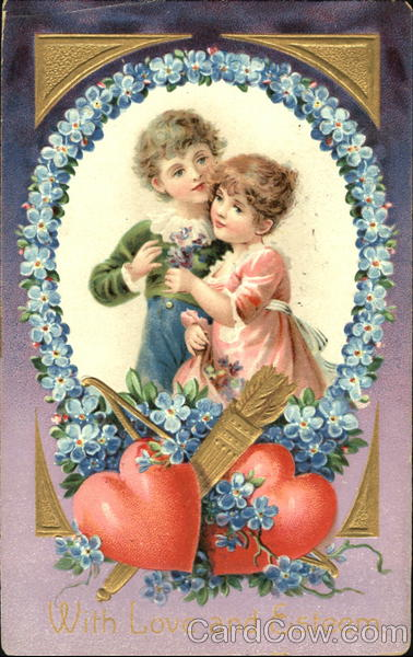 Boy and Girl Surrounded by Blue Flowers Children