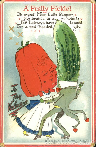 A pickle head man dancing with a bell pepper head girl