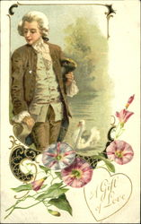 Man in colonial dress, swawn, pink & white flowers