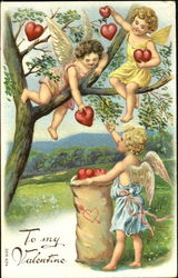Cherubs Harvesting Hearts from a Tree