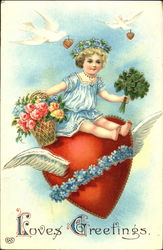 Little girl sitting on a flying heart Vintage Post Card