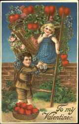 Boy and girl with ladder picking apple hearts