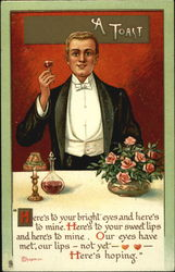 Man in tuxedo lifting small glass of wiine