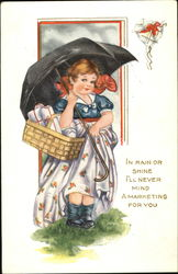 Round-faced girl with umbrella and basket