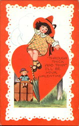 Girl sitting on heart with doll, umbrella, suitcase(?)