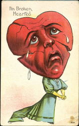 Woman With a Heart Head Shedding Tears