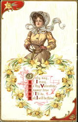 Woman driving; heart wreath of daffodils
