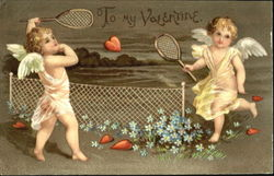 Two cupids playing badminton with a hearet