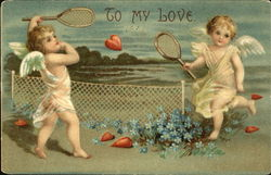 Cupids Playing Tennis