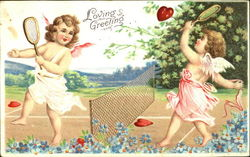 Cupid playing tennis