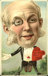 Man with oversized head, monocle in tails holding heart