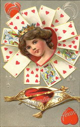 Woman's face in heart, surround by playing cards