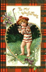 Golfing cupid with plaid frame
