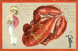 Lobster with woman and man in dress clothes