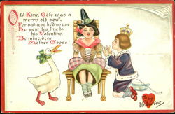 Mother Goose on a Chair with King Cole Kneeling Beside Her