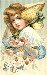 Girl holding flowers and hearts