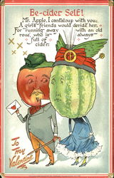 Man with red apple head, woman with green cantaloupe head