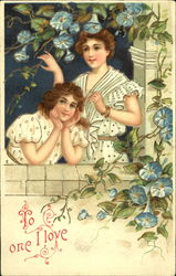 Two girls on a parapet surrounded by blue flowers