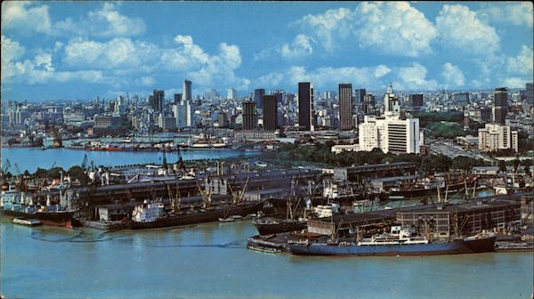 Aerial View of City and Port Buenos Aires Argentina