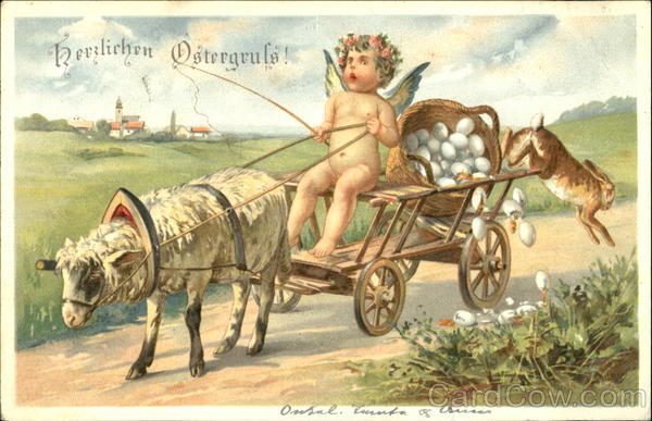 A cupid driving a cart which is pulled by a lamb as rabit jumps from the back