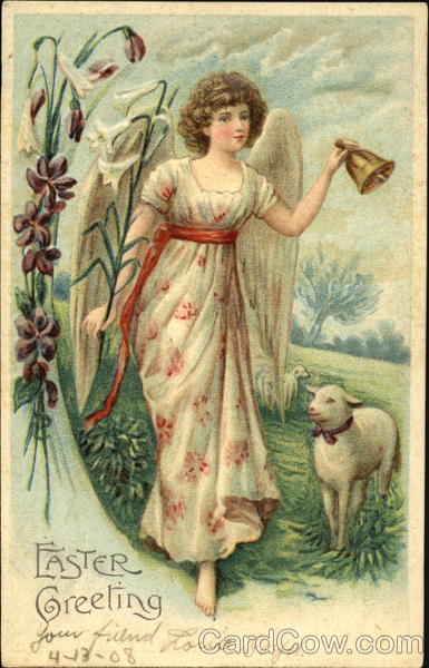 A Woman Angel and a Lamb With Angels