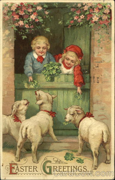 A boy and a girl are feeding 3 lambs With Children