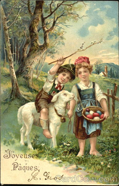 Boy and Girl with Lamb With Children