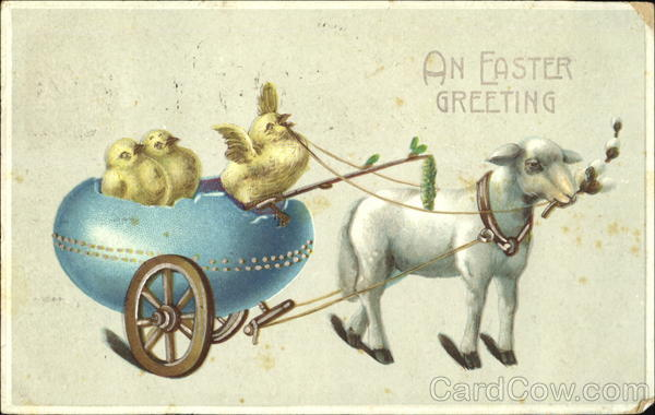 A lamb pulling a cart made of egg with 3 chicks With Chicks