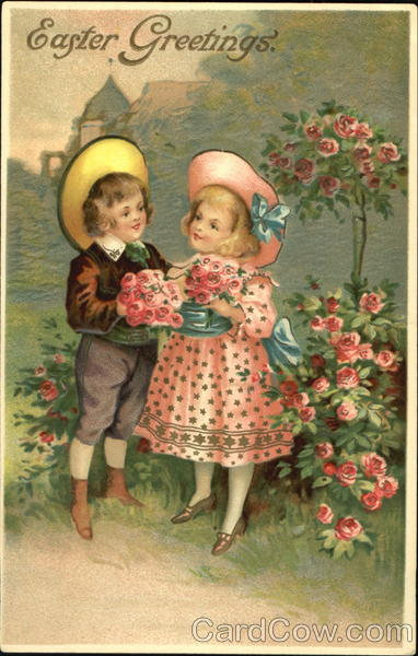 Boy and girl with roses Flowers