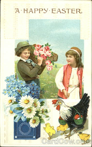 A couple of kids with chicks in the foreground and a box of flowers