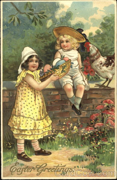 A girl offering another girl a egg out of her basket