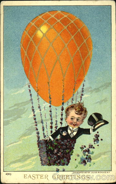 A boy on hot air balloon spreads flowers With Children