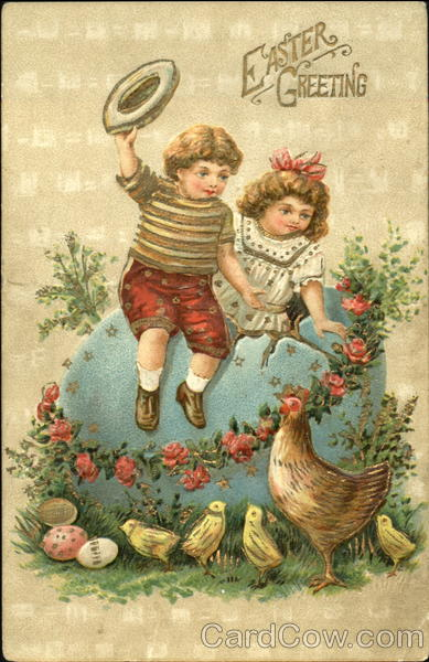 a boys and a girl climbing out of a large egg with chicken and chicks below