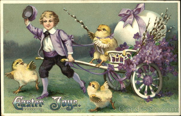Boy pulling Easter cart, with dancing chicks With Children