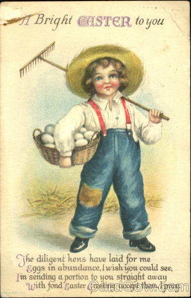 A child farmer with hoe and basket of eggs Ellen Clapsaddle
